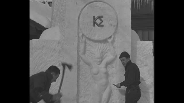 dartmouth frats put art on ice hanover nh unique sculpture contest for greek letter societies is features of winter fete / kappa sigma members sculpt... - naked stock videos & royalty-free footage