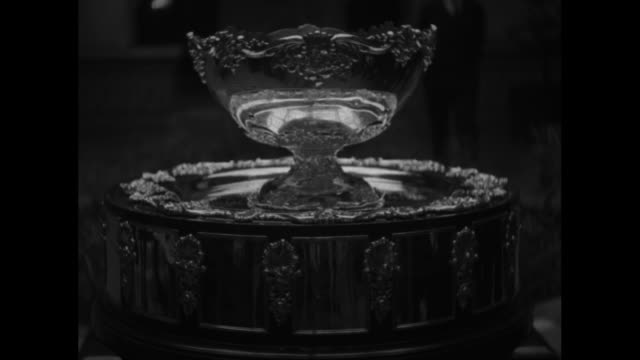 """davis cup, sec'y hull draws for 25 nations"" / davis cup / vs secretary of state cordell hull pulls bits of paper from the cup, and announces results... - davis cup stock videos & royalty-free footage"