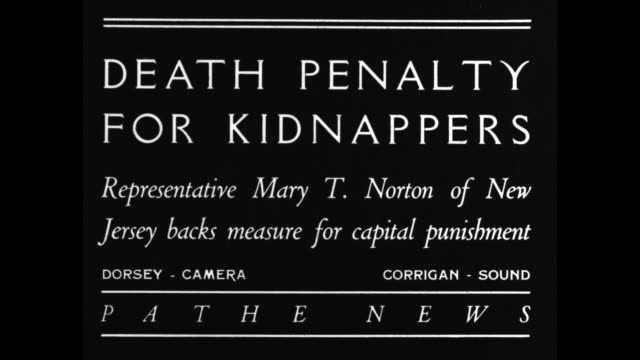 """death penalty for kidnappers - representative mary t. norton of new jersey backs measure for capital punishment"" / norton speaks, addressing camera... - hinrichtung stock-videos und b-roll-filmmaterial"