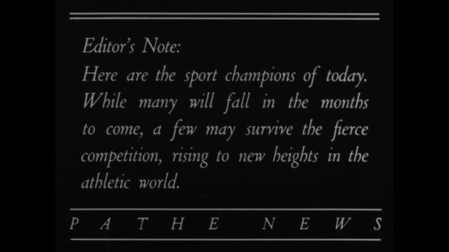 defending champions for 1934 / title card editor's note here are the sport champions of today while many will fail in the months to come a few may... - bobsleighing stock videos & royalty-free footage