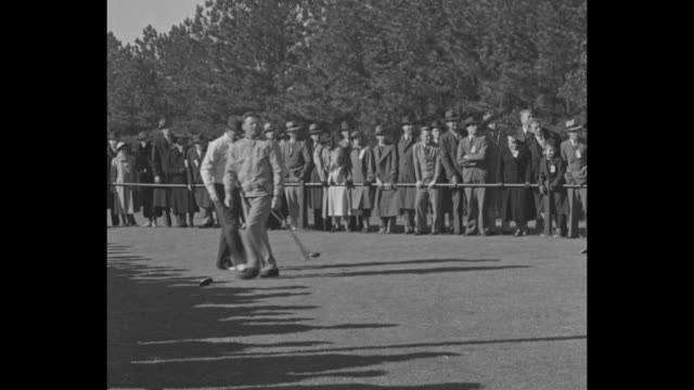 """""""denny shute wins title in pro golf"""" / title: """"pinehurst, nc"""" superimposed over jimmy thomson hitting drive, gallery watching / shot from behind of... - pga stock videos & royalty-free footage"""