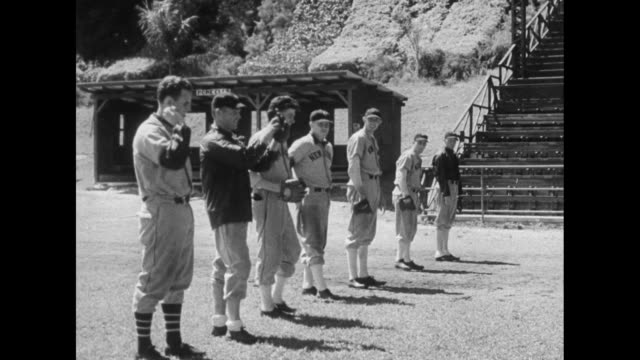 Do You Recognize the Sound / View of training facility in Havana / William Terry on one knee / Outfielders Hal Lee George Davis Joe Moore Hank Lieber...