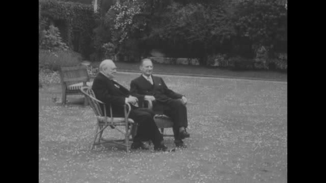 Doctors Order Month's Rest for Churchill superimposed on Downing Street / Prime Ministers Alcide De Gasperi and Winston Churchill sitting in garden...
