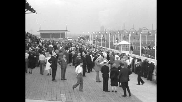 'Dogs Race For Speed Record Chicago Cashoo world's fastest greyhound sets new mark at Hawthorne track' / pan across crowd milling around in front of...
