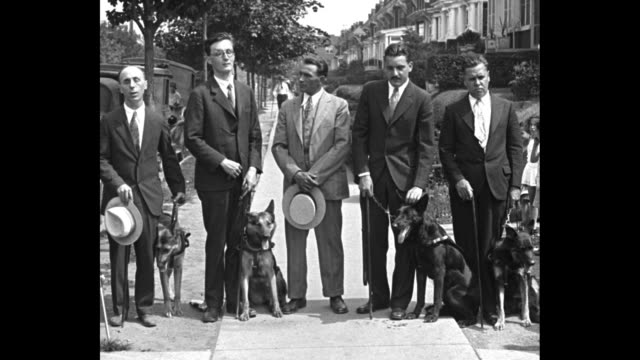 'Dogs see for blind masters New York trained canines guide the sightless through city's traffic perils' / men standing with dogs / as trainer Joseph...