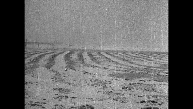 """vidéos et rushes de """"dust more dust"""" / vs long pan of arid, rutted fields with partially buried farm houses and barns / man exits cyclone shelter or root cellar / vs... - phare de véhicule"""