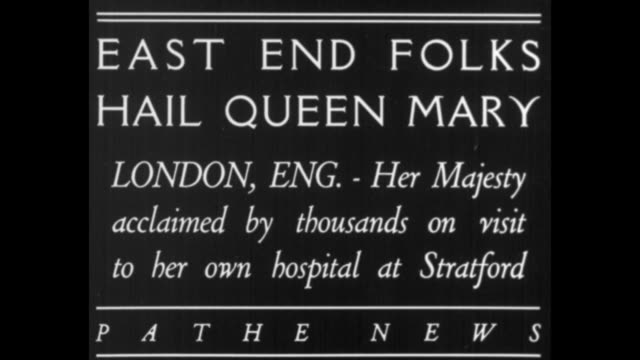 east end folks hail queen mary london eng her majesty acclaimed by thousands on visit to her own hospital in stratford / mary with group of officials... - queen royal person stock videos & royalty-free footage