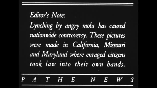 editor's note lynching by angry mobs has nationwide controversy these pictures were made in california missouri and maryland where enraged citizens... - lynching stock videos & royalty-free footage
