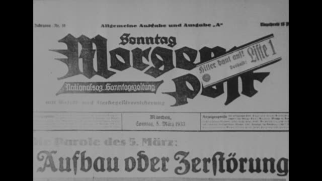 Election Day in Bavaria 5 March 1933 / newspaper headline in Volkischer Beobachter translation With Adolf Hitler for a new Reich / headline of Sunday...