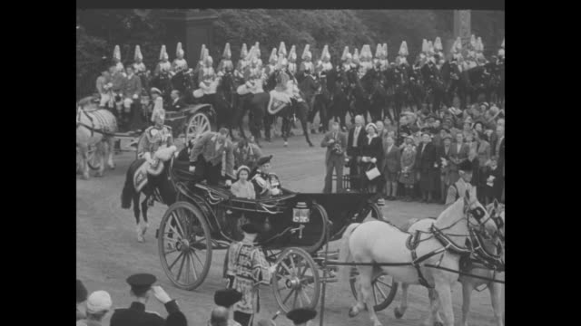 """elizabeth and philip end scottish visit"" superimposed over carriage carrying queen elizabeth ii and prince philip / long view of edinburgh castle /... - edinburgh scotland stock videos & royalty-free footage"