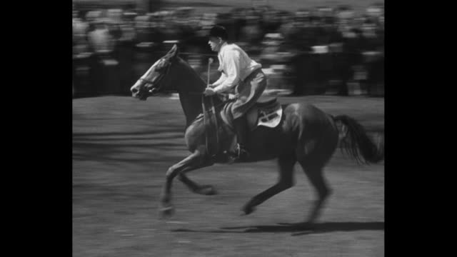 title card elizabeth attends a horse show ms queen elizabeth prince philip and princess margaret drive up to badminton house grounds in jeep past a... - hurdling horse racing stock videos and b-roll footage