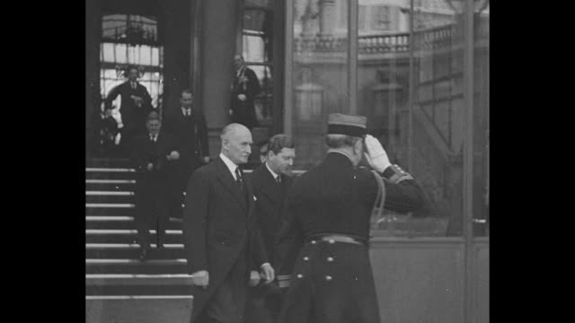 """""""europe looks at its kings and future"""" / king carol ii of romania emerges from building; he has stopped in paris after attending the funeral of king... - tomb of the unknown warrior westminster abbey stock videos & royalty-free footage"""