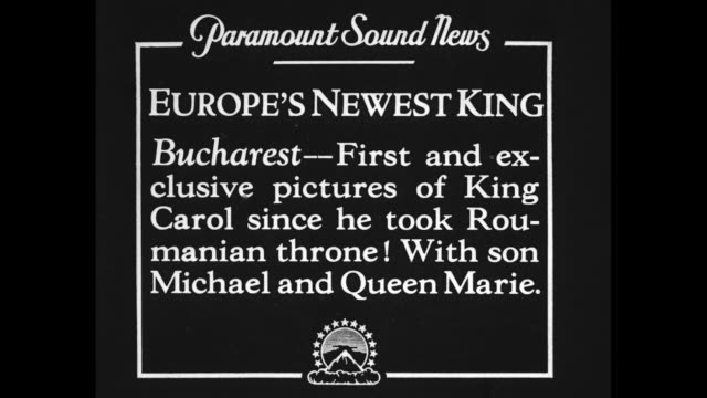 vídeos y material grabado en eventos de stock de europe's newest king bucharest first and exclusive pictures of king carol since he took roumanian throne with son michael and queen marie / crowd... - paramount building
