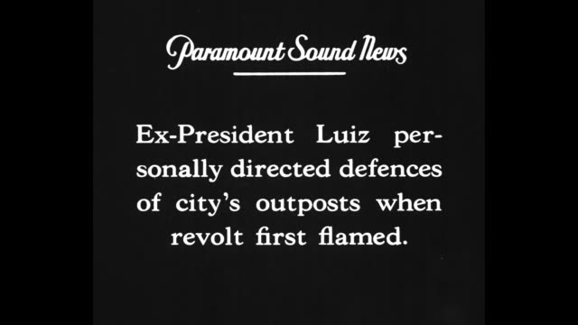 expresident luiz personally directed defences of city's outposts when revolt first flamed / washington luis wearing civilian clothing and using cane... - coup d'état stock videos & royalty-free footage