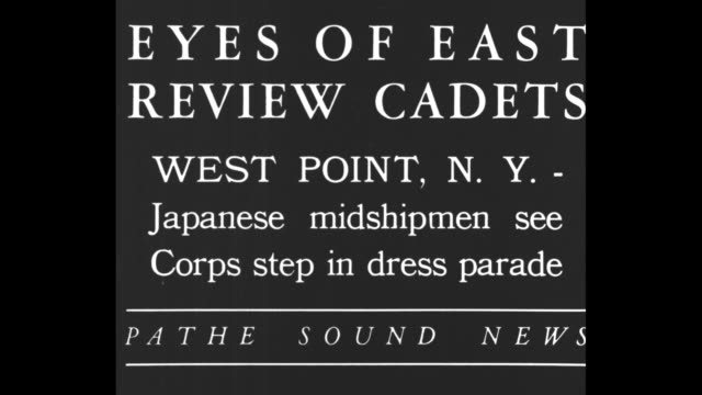 Eyes Of East Review Cadets West Point NY Japanese midshipmen see Corps step in dress parade / US Military Academy band marches across parade ground...