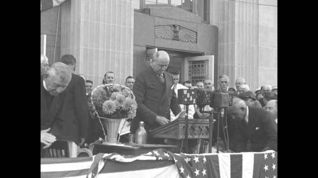 farley dedicates new post office at wilkesbarre / crowd gathered in front of new post office / us postmaster general james a farley and other... - wilkes barre stock videos & royalty-free footage