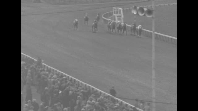filly wins derby test superimposed over horse race / horses running on track / aerials of large crowd in stands / overhead of heads in hats / race... - number 5 stock videos & royalty-free footage