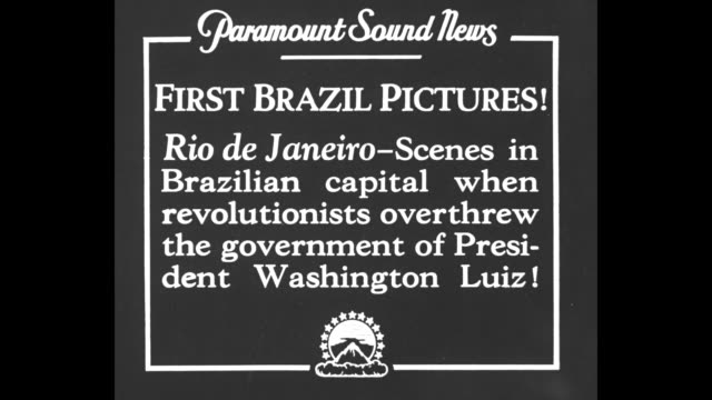 First Brazil Pictures Rio de Janeiro Scenes in Brazilian capital when revolutionists overthrew the government of President Washington Luiz / soldiers...