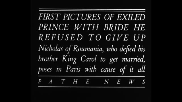title card first pictures of exiled prince with bride he refused to give up nicholas of roumania who defied his brother king carol to get married... - 1932 stock videos & royalty-free footage