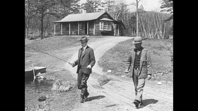 fisherman coolidge finds trout choose to run for expresident former chief executive catches on every time he makes a cast at simsbury conn / former... - coolidge calvin stock videos & royalty-free footage