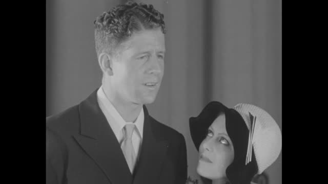 flappers' delight commits matrimony rudy vallee famous nbc crooner says that while gentlemen prefer blondes he prefers fay webb / sot vallee and webb... - brown hair stock videos & royalty-free footage