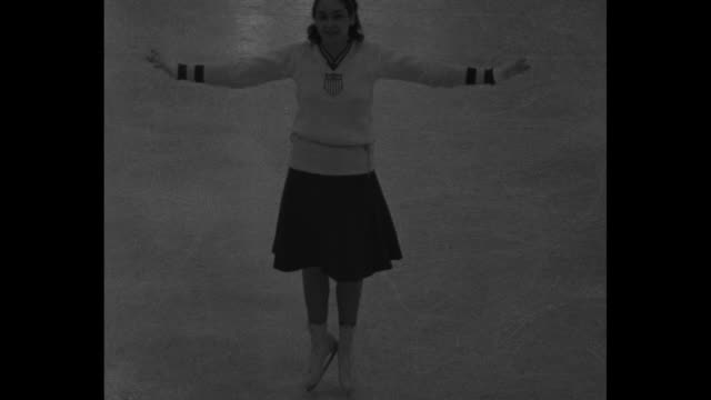 flashes from everywhere lake placid ny women figure skaters of 6 nations seek sonja henie's world title in olympic arena / ms american skater maribel... - lake placid town stock videos and b-roll footage