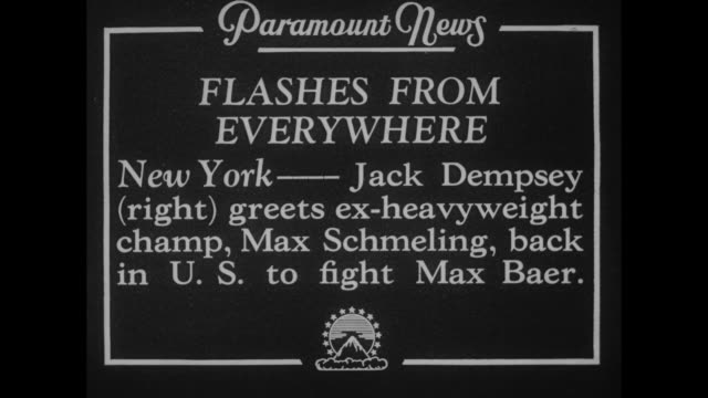 Flashes From Everywhere New York Jack Dempsey greets exheavyweight champ Max Schmeling back in US to fight Max Baer / WS cameramen with cameras on...