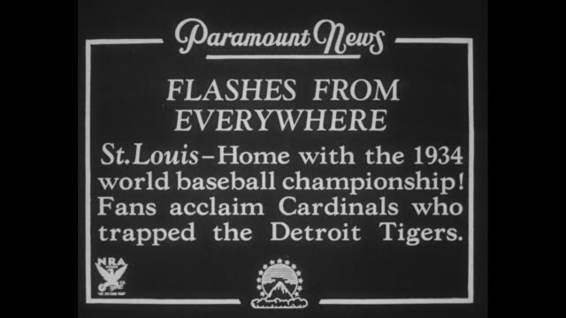Flashes from everywhere St Louis Home with the 1934 world baseball championship Fans acclaim Cardinals who trapped the Detroit Tigers / high angle of...