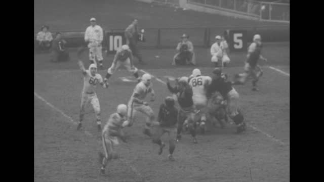 """""""football"""" superimposed over view of football field with game in progress"""" / columbia's bill swiacki catching low impossible pass, throwing himself... - first down american football stock-videos und b-roll-filmmaterial"""