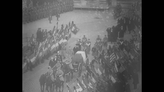 french minister of war joins immortals crack regiments bear andre maginot hero of verdun to final resting place in paris / soldiers carry casket out... - french flag stock videos & royalty-free footage