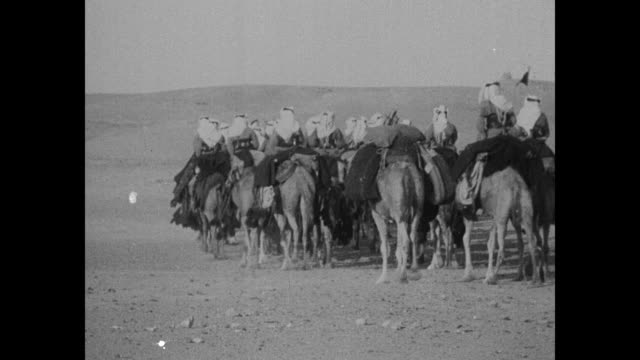 """french use camel police to guard syria - picturesque troop of tribesmen and ships of desert patrol burning sands to keep nomads from making raids"" /... - cavalleria video stock e b–roll"