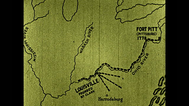 """""""from its base at fort pitt, clark expedition proceeded to kaskaskia, which was occupied without a fight""""; map tracking george rogers clark westward... - wild west stock videos & royalty-free footage"""