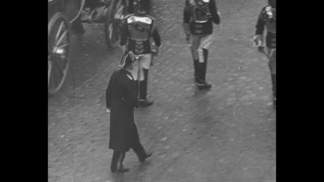 """funeral of king george v"" superimposed over funeral procession / aerials outside westminster hall / coffin on shoulders of pallbearers being taken... - norway stock videos & royalty-free footage"