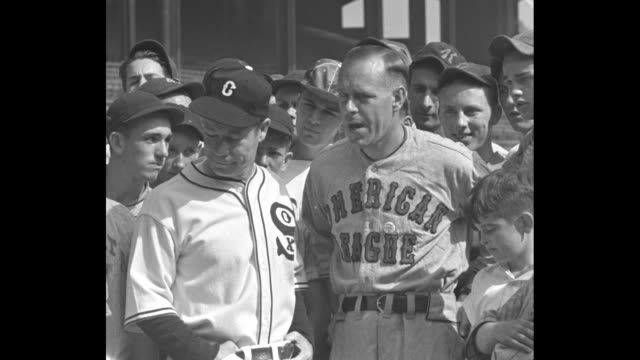 """Future stars of baseball Chicago / VS Former American League infielder Lew Fonseca addressing Little League players as well as Comedian Joe E Brown..."