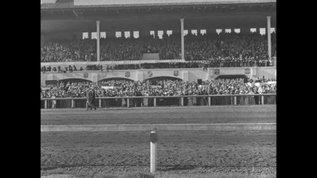 """""""gallant sir wins! agua caliente, mex. - stable mates run one-two in $25,000 agua caliente handicap! 18,000 cheer as 'gallant sir' repeats 1933... - agua点の映像素材/bロール"""