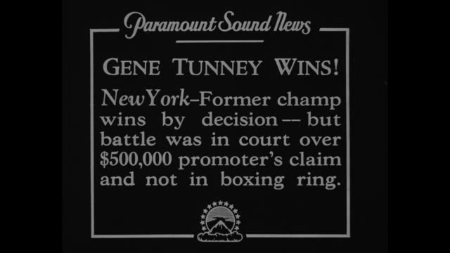 Gene Tunney Wins New York Former champ wins by decision but battle was in court over $500000 promoter's claim and not in boxing ring / Gene Tunney...