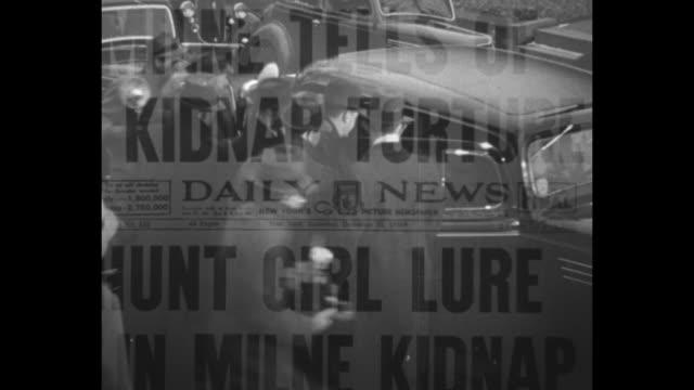 "vídeos de stock e filmes b-roll de ""get all kidnappers!"" superimposed over hands holding guns / exteriors department of justice building / fbi director j. edgar hoover sitting at his... - fbi"
