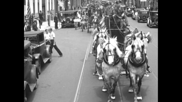 girl dives into stein of real beer foaming climax features bridgeport celebration hailing return of brew / marching band coming down street in parade... - old diving suit stock videos and b-roll footage