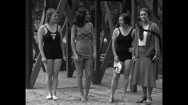 """girl diving champs start 1931 season with a big splash - mary k. browne introduces world-famous trio in first outdoor exhibition at briarcliff, ny""... - world sports championship stock videos & royalty-free footage"
