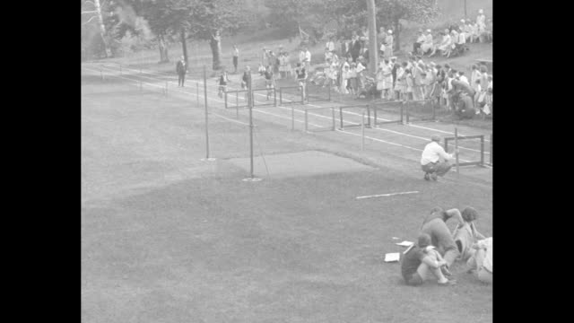 girl ties world record in 100 auburndale mass sprinters shatter women's marks in new england meet / start of fourwomen hurdle race crowd on grass... - hurdle stock videos & royalty-free footage