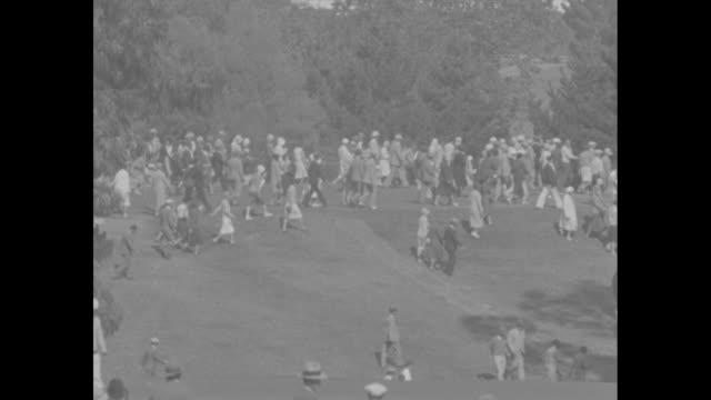"""glenna collett wins golf crown, los angeles, calif - five-time champion beats virginia van wie in u.s. women's tourney"" / vs shots of gallery on... - golf links stock videos & royalty-free footage"