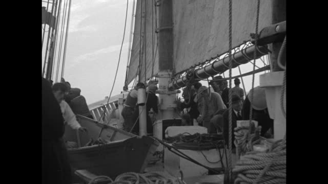 gloucester fishermen race their schooners in spanking breeze good ships gertrude l thebaud and elsie spread canvas in atlantic regatta trial reviving... - spanking stock videos and b-roll footage