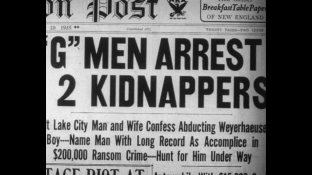 gmen score again / close shot of newspapers with headlines announcing arrest of kidnappers / three close shots of newspaper headlines announcing... - mug shot stock videos & royalty-free footage