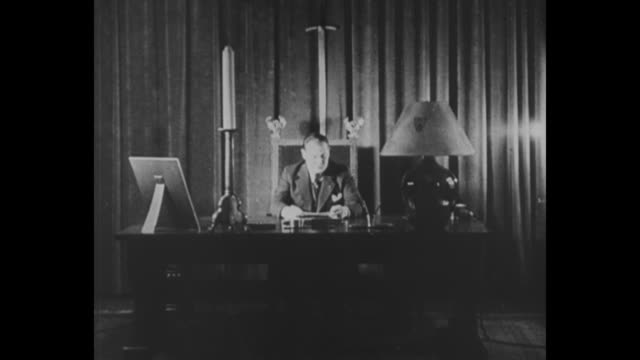 """goering, named prussian minister of interior by hitler, outlines his program, february 1933"" / hermann goering, wearing suit and tie, seated in... - speech stock videos & royalty-free footage"