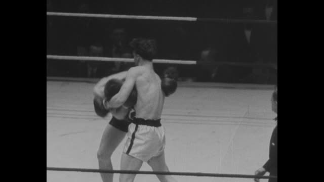 vídeos de stock, filmes e b-roll de golden gloves / john mccrave and james berger fight in ring as referee moves around them / george mascelli and martin kocis fight in ring as referee... - luvas