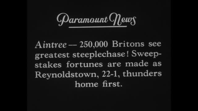 'Grand National Aintree 250000 Britons see greatest steeplechase Sweepstakes fortunes are made as Reynoldstown 221 thunders home first' / VS horses...