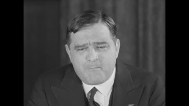 rep. fiorello la guardia addresses camera while campaigning for new york city mayor, discussing the possibility and effects of city bankruptcy... - bankruptcy stock videos & royalty-free footage
