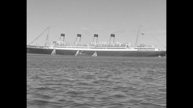 """""""halifax welcomes giant cunarder on anniversary visit - arrival of aquitania commemorates sailing of line's first ship to nova scotia port from... - top hat stock videos & royalty-free footage"""