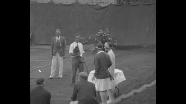 'Helen Wills is tennis victor Forest Hills L I Her defeat of Betty Nuthall regains trophy for US' / US tennis player Helen Wills and UK's Betty...