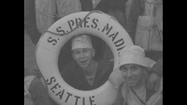heroes of sea gallant crew of president madison brings back shipwreck survivors / pan across crew on board president madison posing for photo... - nevada stock videos & royalty-free footage